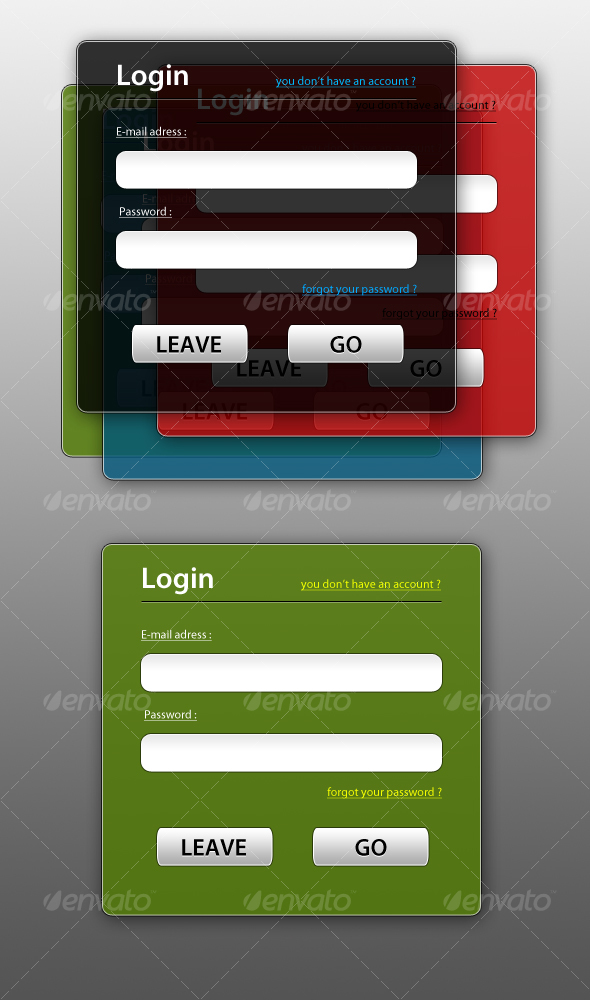 GraphicRiver Semi-Transparent Login Boxes 49435
