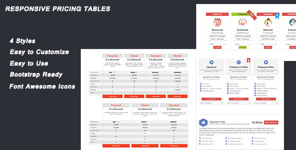 CodeCanyon Minsoft Responsive Pricing Tables 12178753