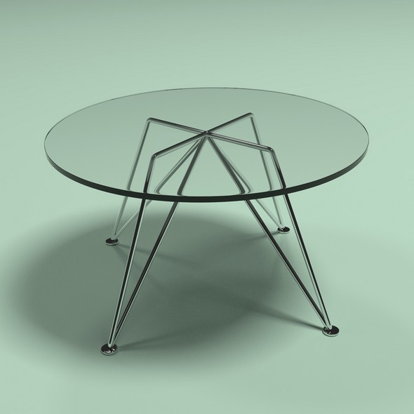 A glass table on metal nickel-plated legs - 3DOcean Item for Sale