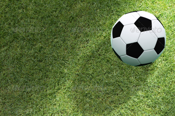 soccer ball on green grass - Stock Photo - Images