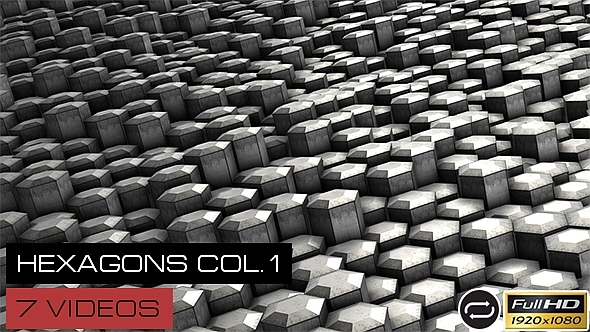 VideoHive Dirty Hexagons Collection #1 7 Pack 12251434