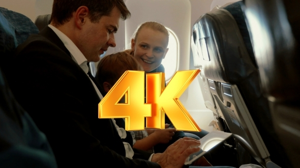 VideoHive Family Of Three In Plane With Smartphone And 12251713