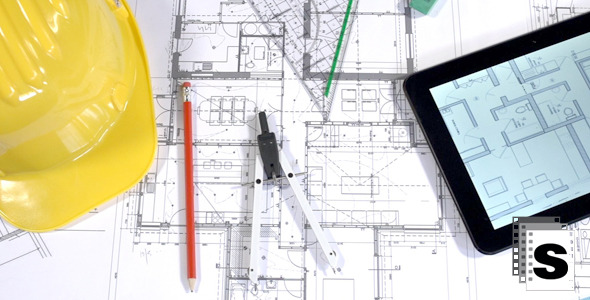 VideoHive Architects Blueprints And Drawing Instruments 12252489