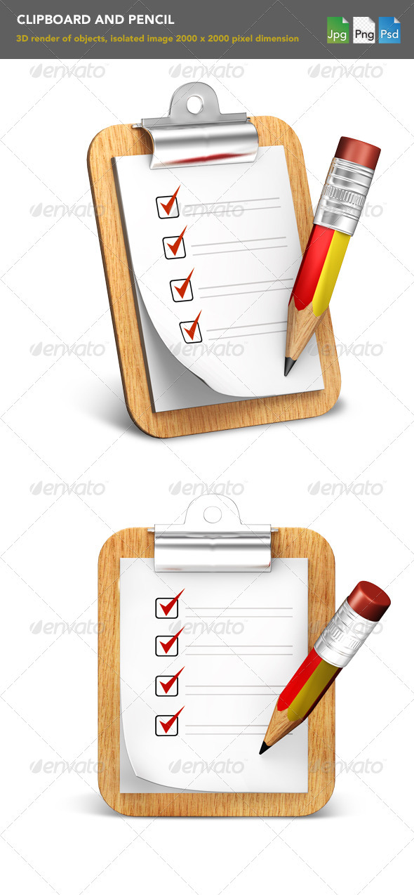 Clipboard  - Objects 3D Renders