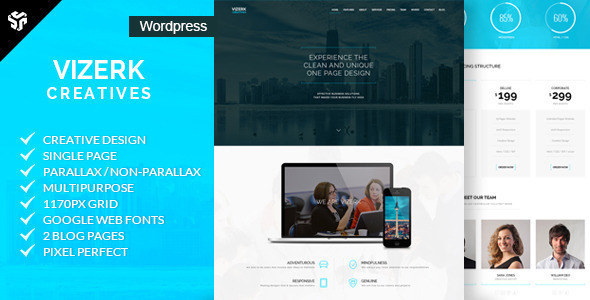Vizerk - One Page Parallax WordPress Theme