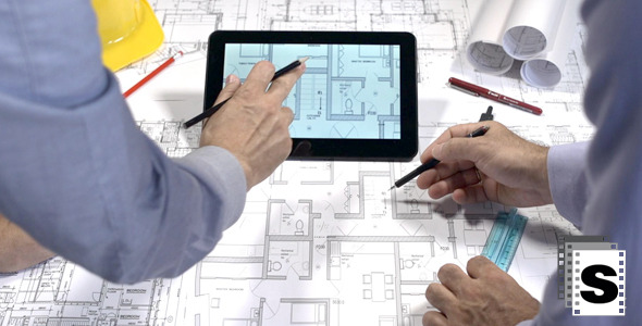 VideoHive Architects Working On Blueprints And Tablets 2 12253412