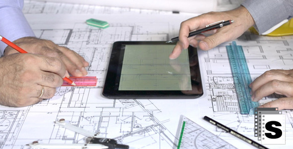 VideoHive Working On Blueprints and Tablet 12253447