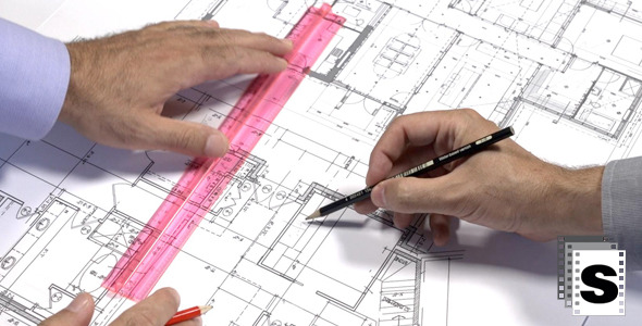 VideoHive Architects Checking Blueprints 12253464