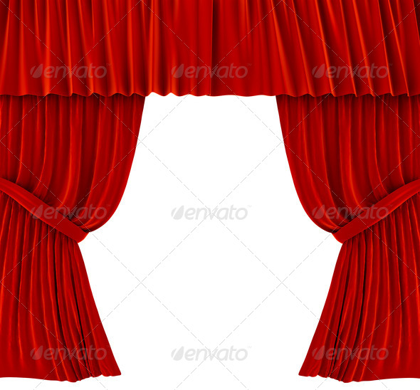 PhotoDune Red curtains over white 1228538