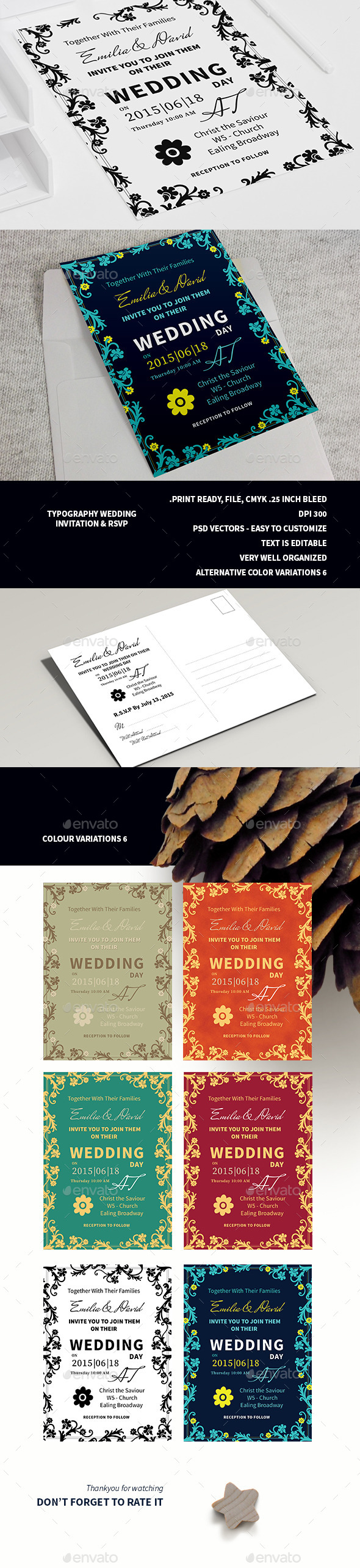 Typography Wedding Invitation & RSVP