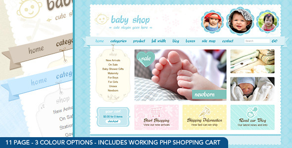 Cute & Sweet - 3 Color - HTML & PHP Shopping Cart - Creative Site Templates