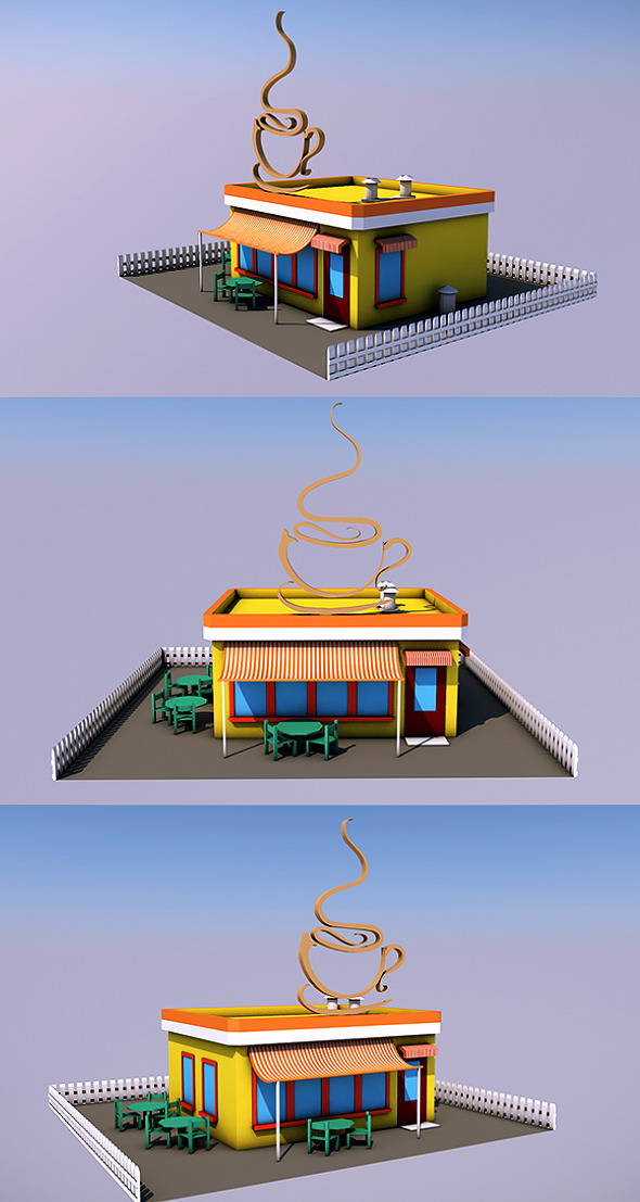 3DOcean Low Poly Coffee Shop Ready to Render 12264386