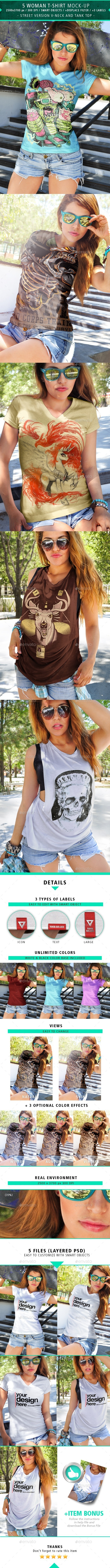 5 Woman T-shirt Mock-up Street Version