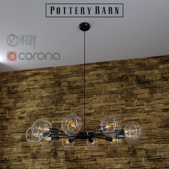 3DOcean Mid century orb chandelier by Pottery Barn 12265545