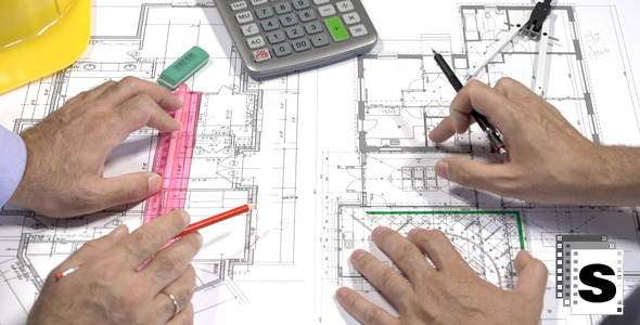 VideoHive Architects Checking The Blueprints 12270474