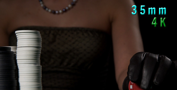 VideoHive Woman Holding Poker Chips 01 12274979
