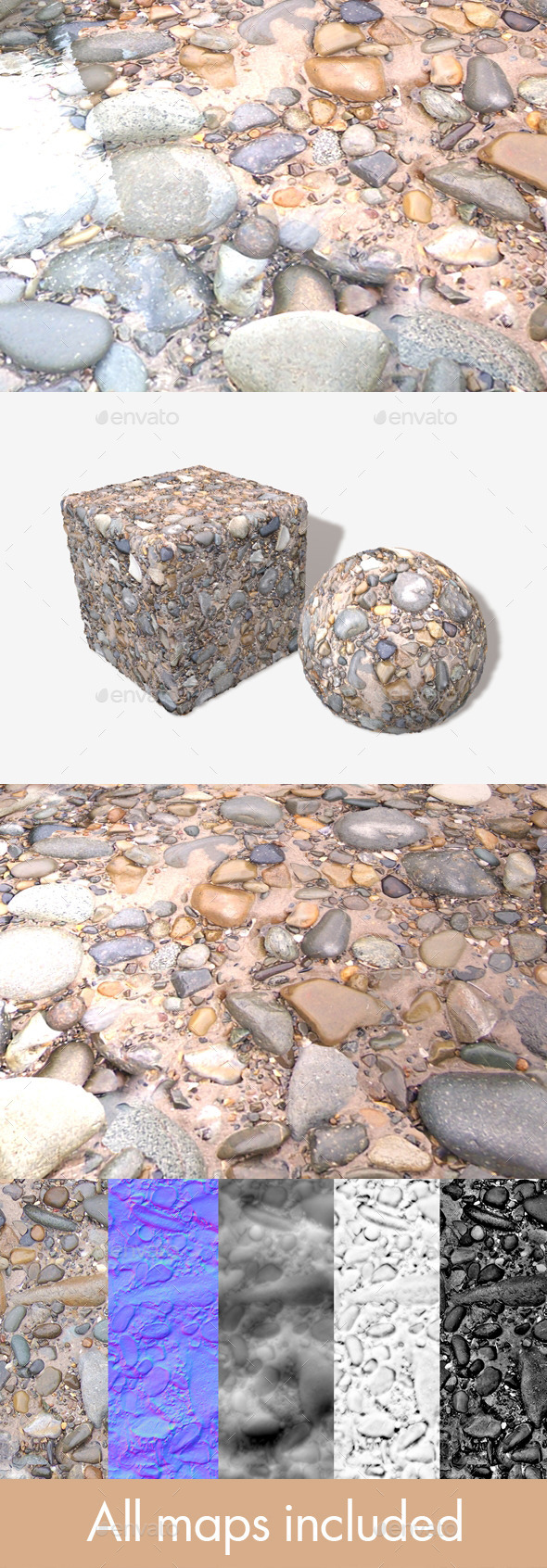 3DOcean Wet Beach Rocks Seamless Texture 12275990