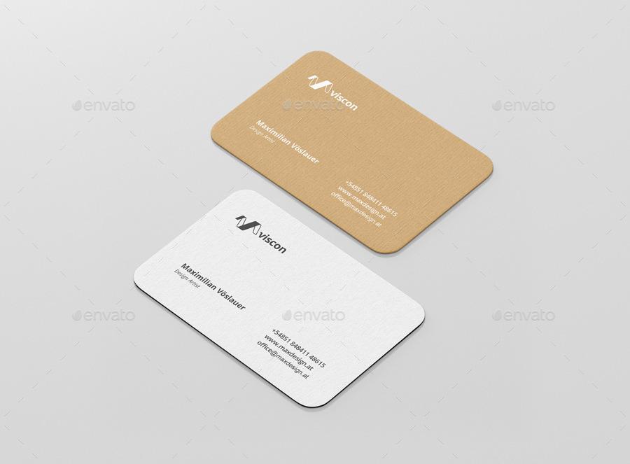 Business Card Mockup Round Corners by visconbiz