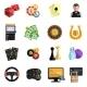 Casino Gambling Games Flat Icons Set
