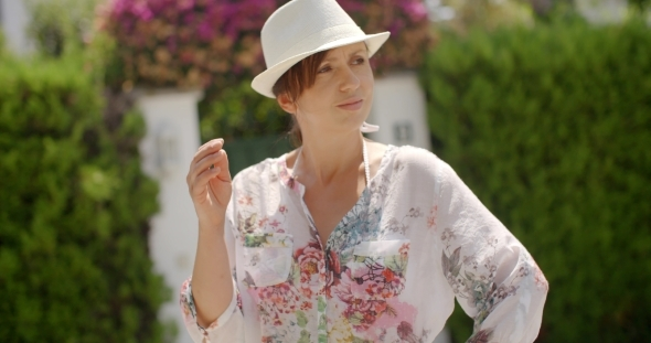 VideoHive Woman In Summer Fashion Looking At The Camera 12279762