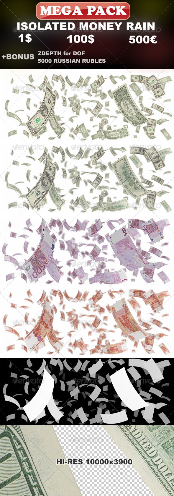 Isolated Money Rain Mega-Pack (1$, 100$, 500€) - Objects 3D Renders