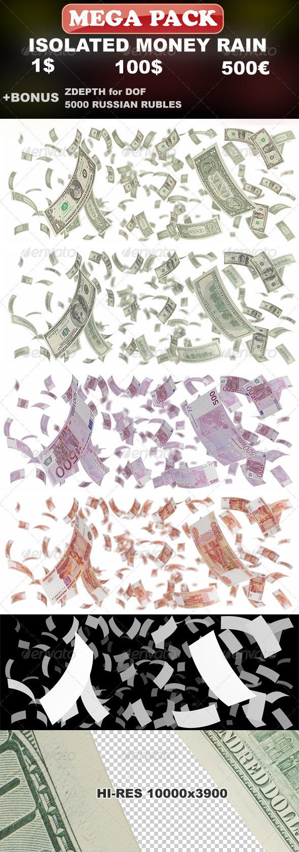GraphicRiver Isolated Money Rain Mega-Pack 1$ 100$ 500Ђ 149456