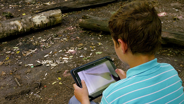 VideoHive Boy With Tablet In The Forest 12281943