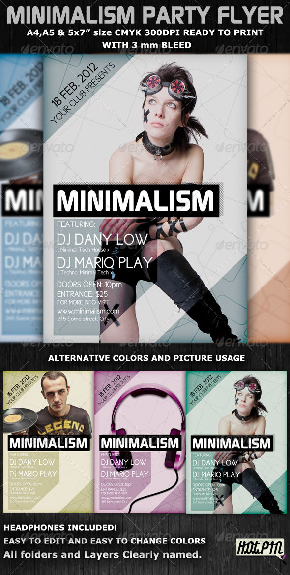 GraphicRiver Minimalism Club Party Flyer Template 1230394