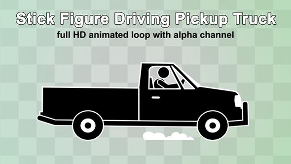VideoHive Stick Figure Driving Pickup Truck 12295997