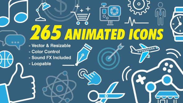 VideoHive 265 Animated Icons 12297868