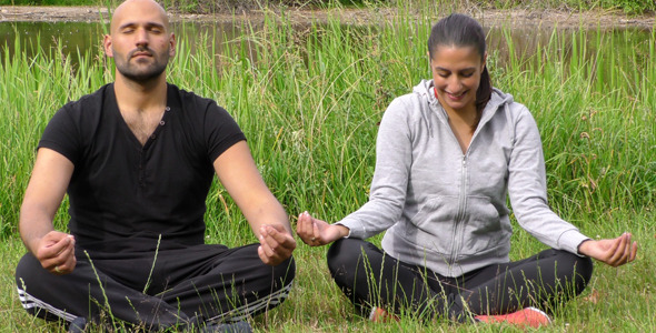 VideoHive Young Couple in Nature Funny Meditation Moment 12306589