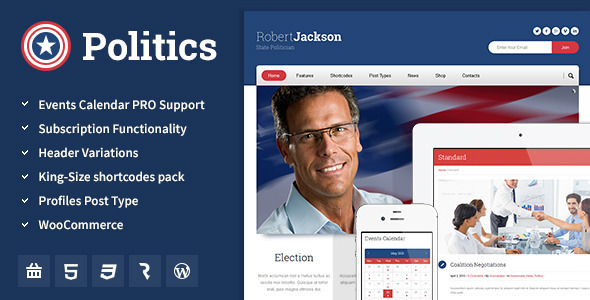 18 - Politics - Election Campaign Political WP Theme