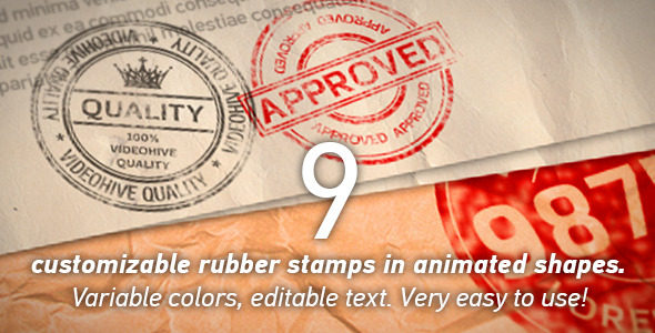 VideoHive 9 Customizable Realistic Look Rubber Stamps 12310885