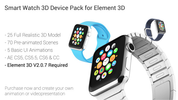 VideoHive Smart Watch 3D Device Pack for Element 3D 12233779