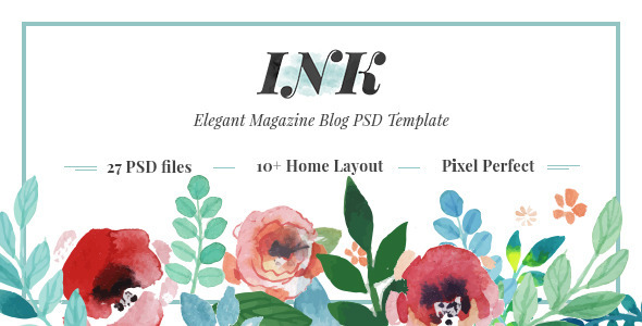 INK – Elegant Magazine Blog PSD Template (Personal) Download