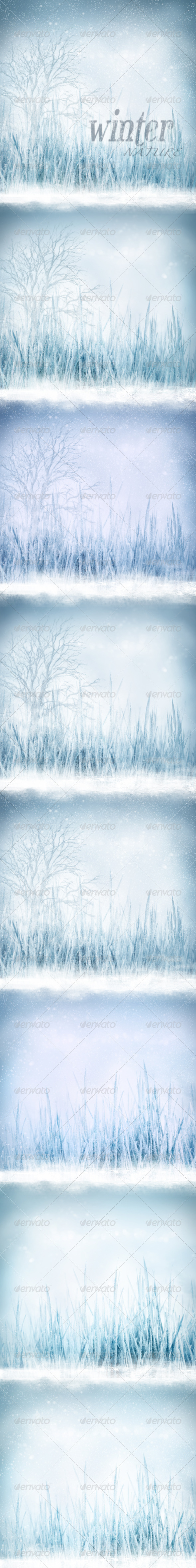 Nature Winter Backgrounds with Frozen Fields - Nature Backgrounds