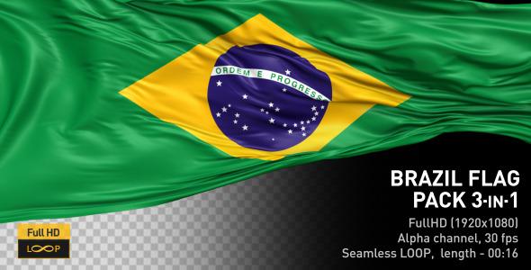 VideoHive Brazil Flag Pack 12322912