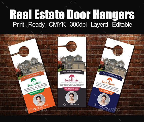 Tele Comunications Graphics Designs Templates - Real estate door hanger templates