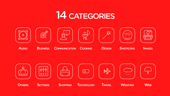VideoHive 200 line icons 12253306