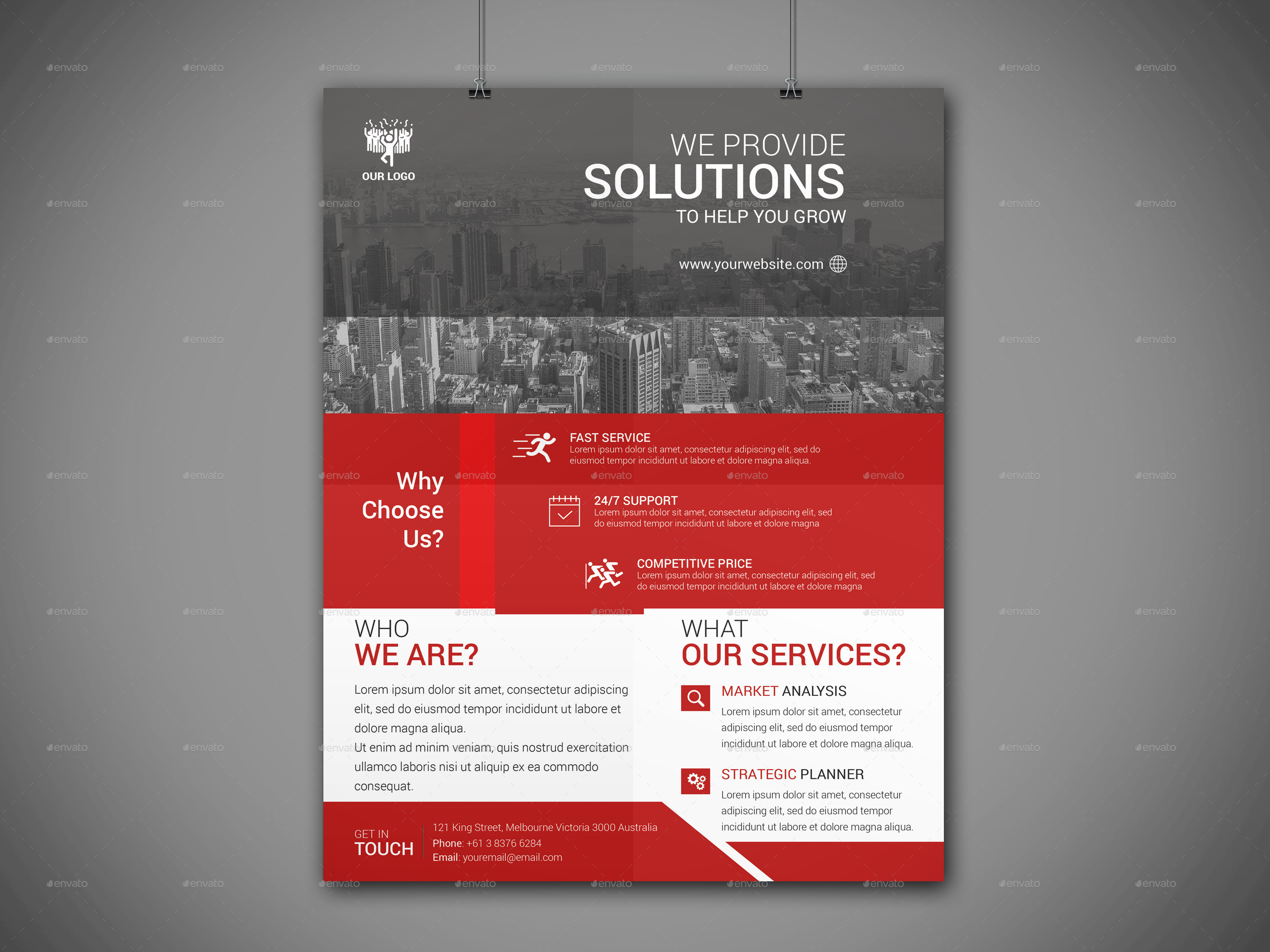 Modern Corporate Flyer Template by BROODDESIGNER – Corporate Flyer Template