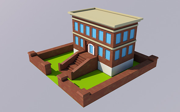 3DOcean Low Poly School Ready to Render 12325521