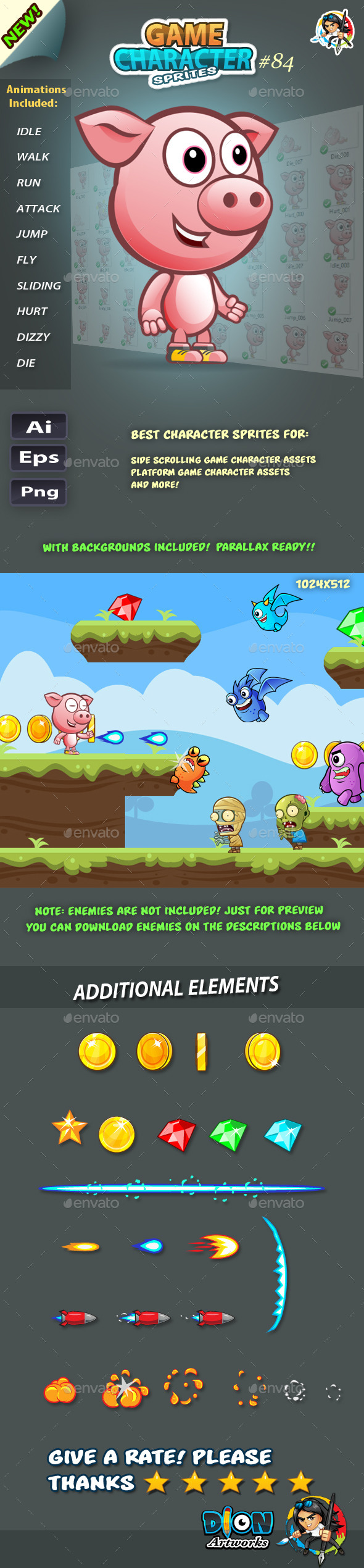 Piggy 2D Game Character Sprites 84 (Sprites)