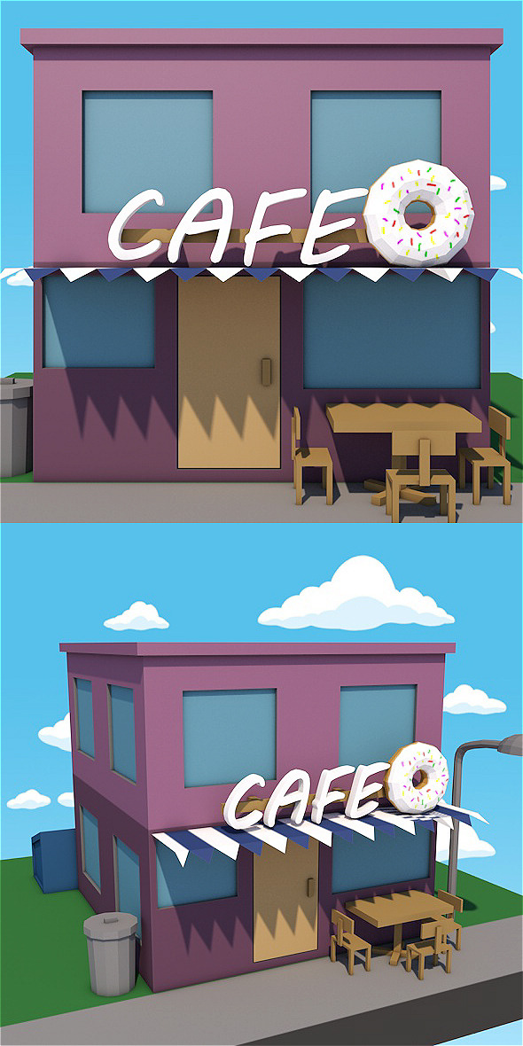 3DOcean Low poly cafe 12328649