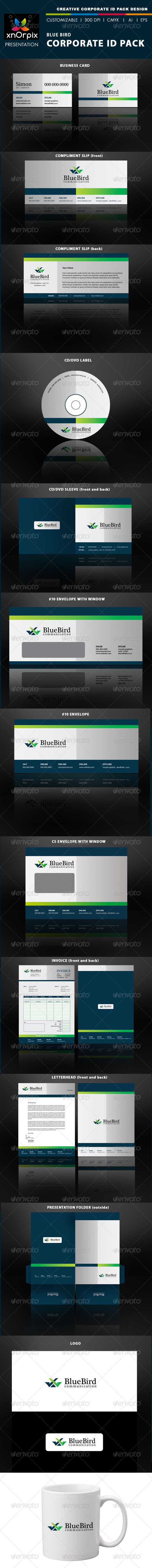 Blue Bird Corporate ID Pack - Stationery Print Templates