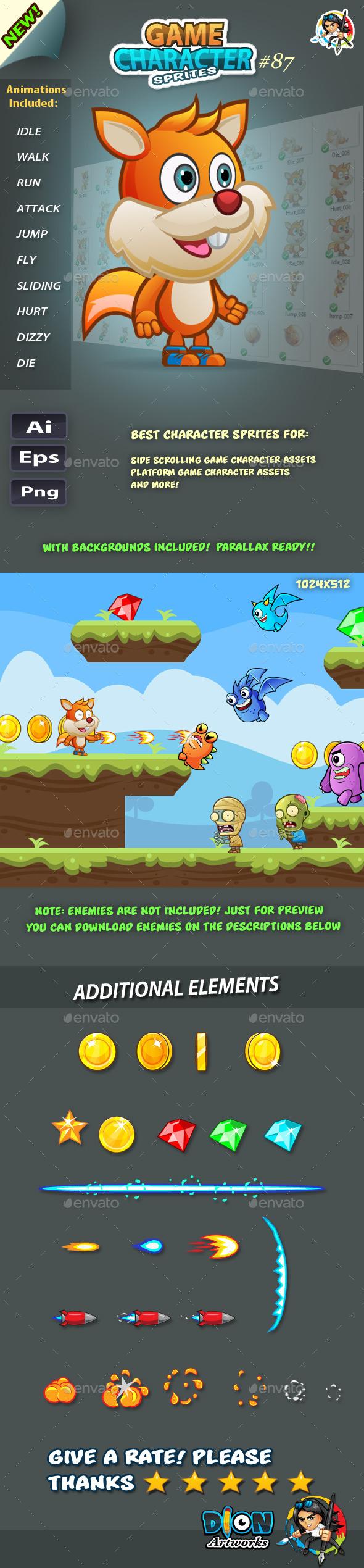 Squirrel 2D Game Character Sprites 87 (Sprites)