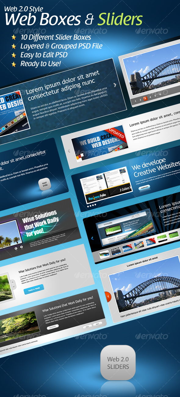Web 2.0 Styled Slider Boxes - Web Elements