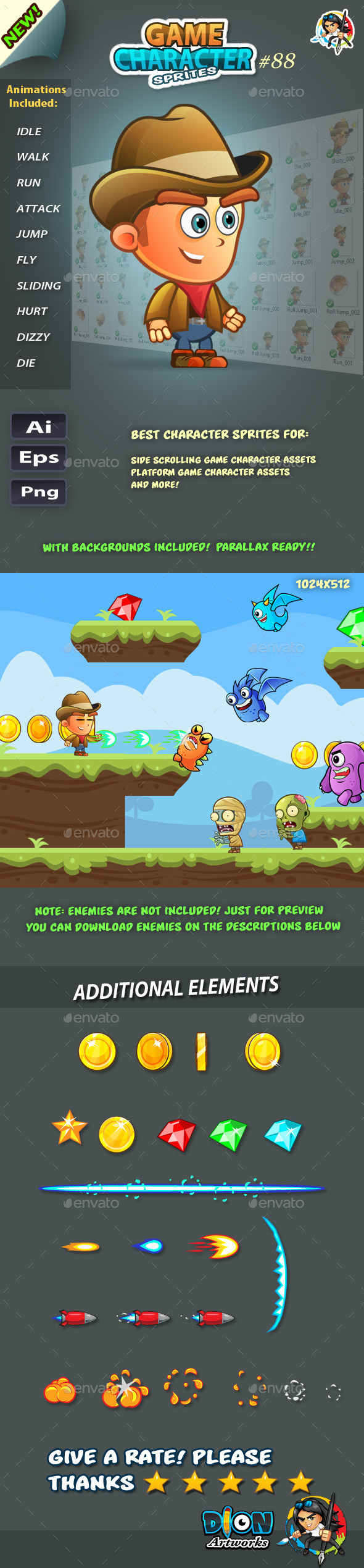 CowBoy 2D Game Character Sprites 88 (Sprites)