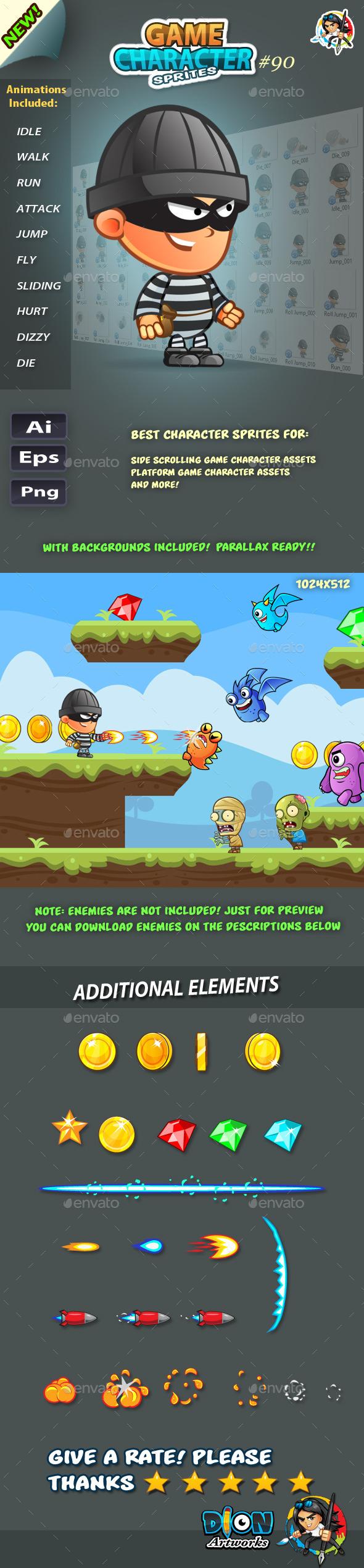 Robber 2D Game Character Sprites 90 (Sprites)