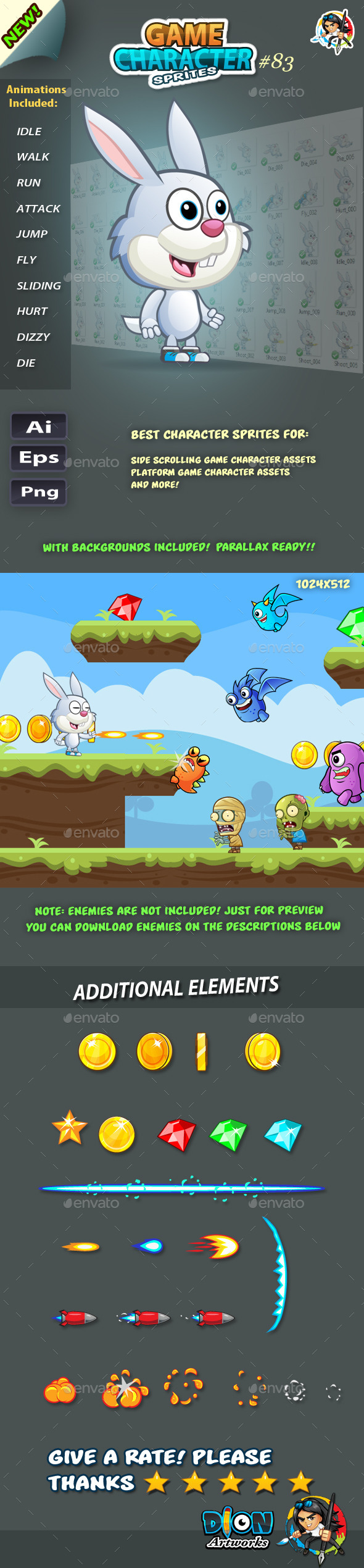 Bunny 2D Game Character Sprites 83 (Sprites)