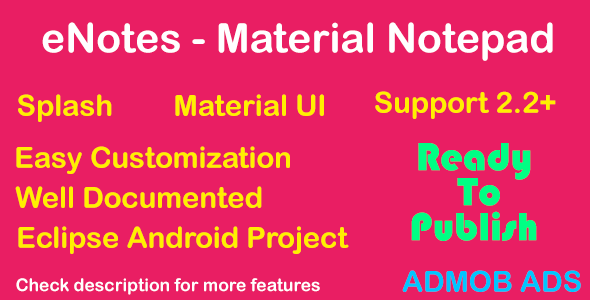 Download eNotes - Material UI - AdMob nulled download